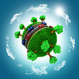 3D grassy globe with cars and trees against a blue cloudy sky