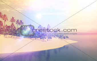 3D tropical island in sea with retro effect