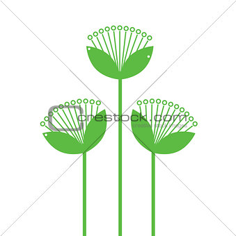 Green Flowers Line art isolated on white