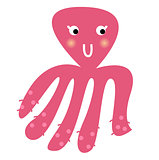 Cute beautiful pink Octopus isolated on white