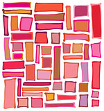liquid rectangle and square shapes in red pink orange over white