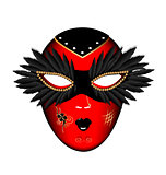 carnival red black mask