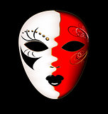 carnival white-red mask