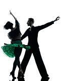 elegant couple dancers dancing silhouette
