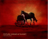 Horses at sunset, oil painting on silk in vector form