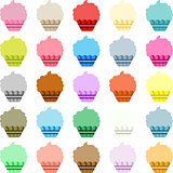 Colorful labels shaped like cupcake