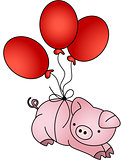 Pig flying with balloons