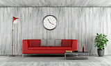 Red couch in old wooden room