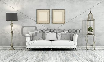 Gray retro living room