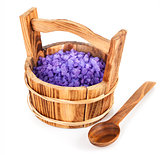 Bath salt in wooden bucket