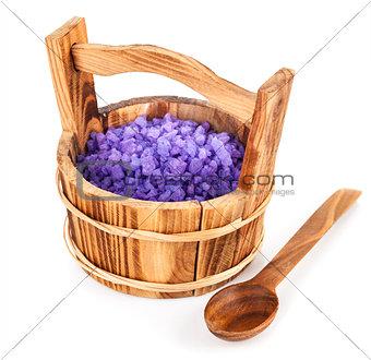 Bath salt in wooden bucket