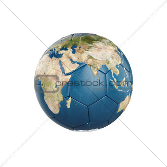 3d globe Earth texture on soccer ball isolated
