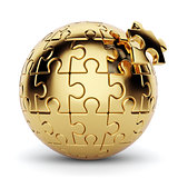 Golden spherical puzzle with one piece disconnected