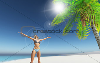 3D render of a female on a tropical beach