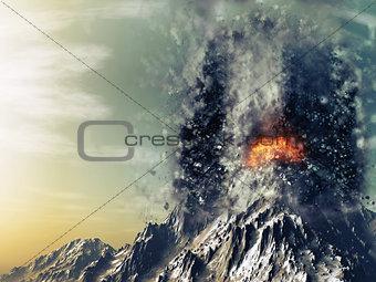 3D exploding volcano