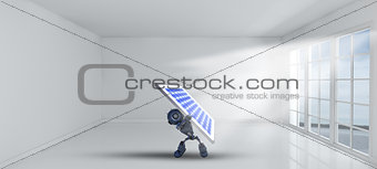 3D robot holding solar panel inside empty room with windows
