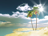 3D palm trees on sand background