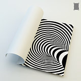 A4 business blank. Black and white abstract striped background.