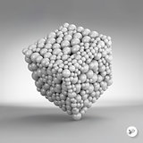 One cube formed by many spheres. 3d vector illustration.