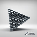 Pyramid of balls. 3d vector illustration.