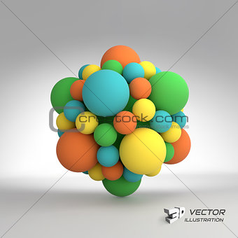 Molecular structure with spheres. 3d vector Illustration.