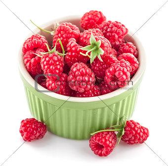 Fresh berry raspberry with green leaf