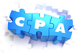 CPA - White Word on Blue Puzzles.