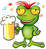 frog cartoon with schooner beer