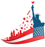 new york city symbol on USA flag