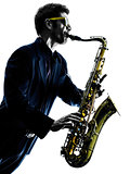 man saxophonist playing saxophone player