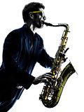 man saxophonist playing saxophone player