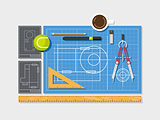 Blueprint with ruler, compass and cup of coffee top view flat style.