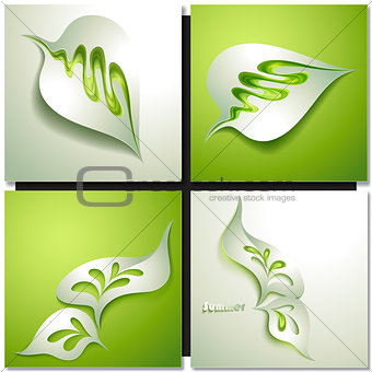 Abstract paper green leaf