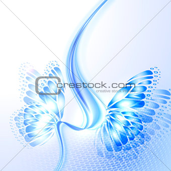 Abstract wave blue background with butterfly