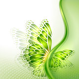 Abstract wave green background with butterfly