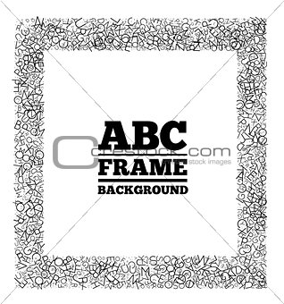 Frame created from the letters of different sizes