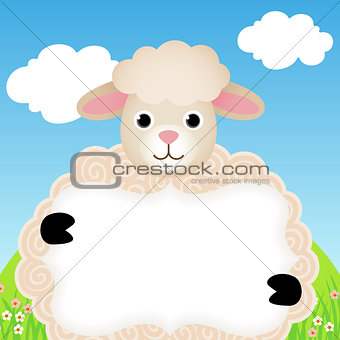 Background with sheep and label