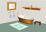Bathroom with mirror, shelf and cosmetics.