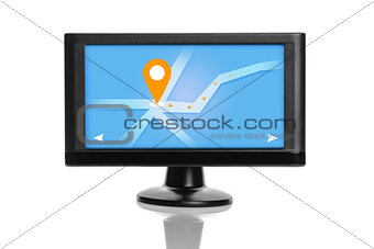 Car GPS Navigation Device Isolated on White Background