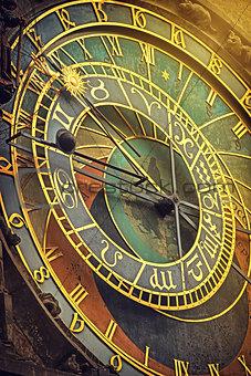 Prague Astronomical Clock Detail Retro Toned