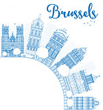 Outline Brussels skyline with blue building and copy space
