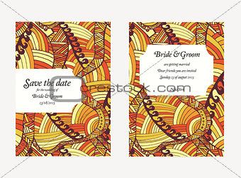 Beautiful hand drawn wedding invitation cards.