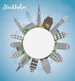 Stockholm Skyline with Grey Buildings and Blue Sky
