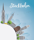Stockholm Skyline with Grey Buildings and Blue Sky with copy spa