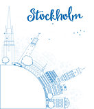 Outline Stockholm Skyline with Blue Buildings and copy space