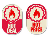 hot deal and hot price with flames signs, two elliptical labels