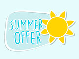summer offer with yellow sun sign, blue flat design label
