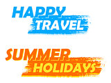 happy travel and summer holidays, blue and orange drawn labels