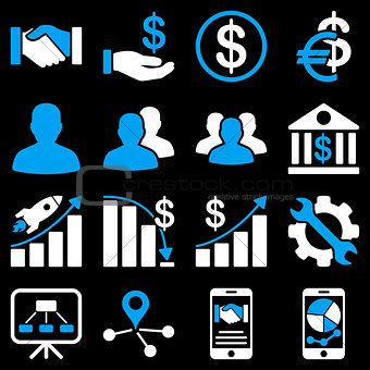 Business charts and bank icons.