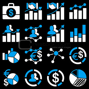 Business charts and reports icons.